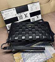 Мужской клатч кошелёк портмоне Louis Vuitton кожа на змейке