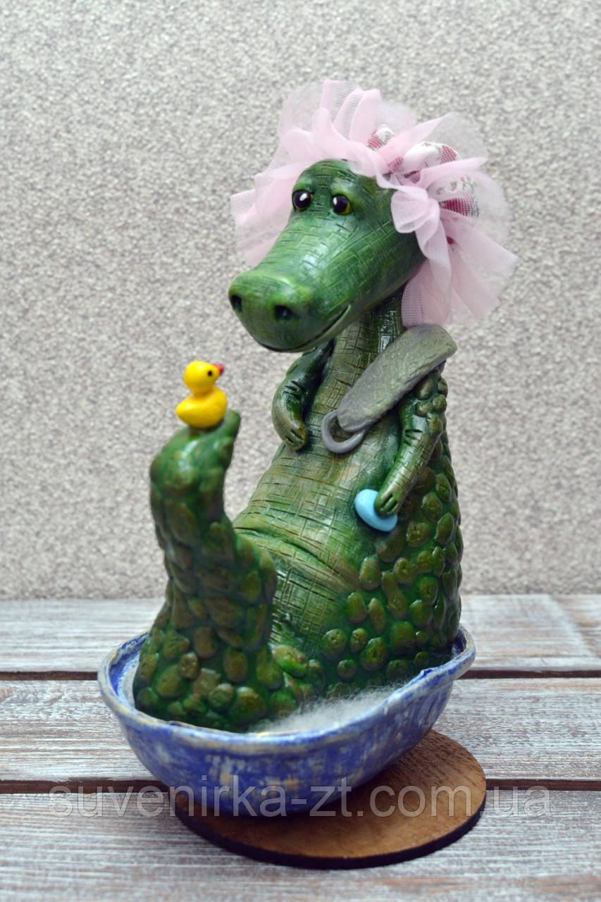 """Авторская, характерная кукла. """"Банный день"""" (крокодилица) (А01115)"""