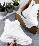 Зимние белые ботинки  женские на платформе 36-23см 37-23,5см 38-24см