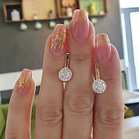 Сережки срібні із золотими вставками та кубічними цирконами різного розміру