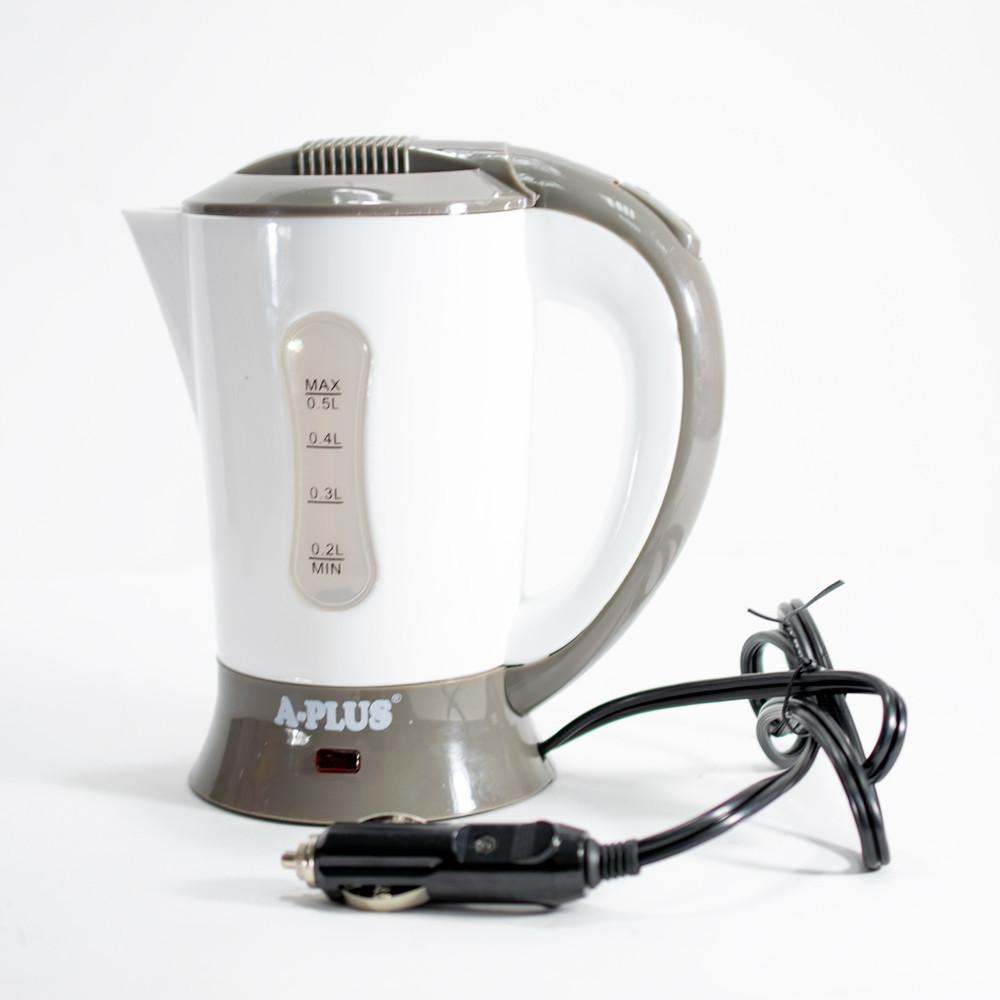 🔝 Автомобильный чайник от прикуривателя в авто А-плюс ЕК-1518 Белый электрочайник 12 вольт в машину | 🎁%🚚