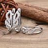 Серебряный набор Ш675 кольцо размер 16 + серьги 19х5 мм вставка белые фианиты, фото 3