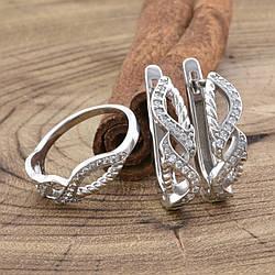 Серебряный набор Ш675 кольцо + серьги 19х5 мм вставка белые фианиты размер 17