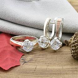 Серебряный набор Ш268 кольцо + серьги 25х9 мм вставка белые фианиты размер 19