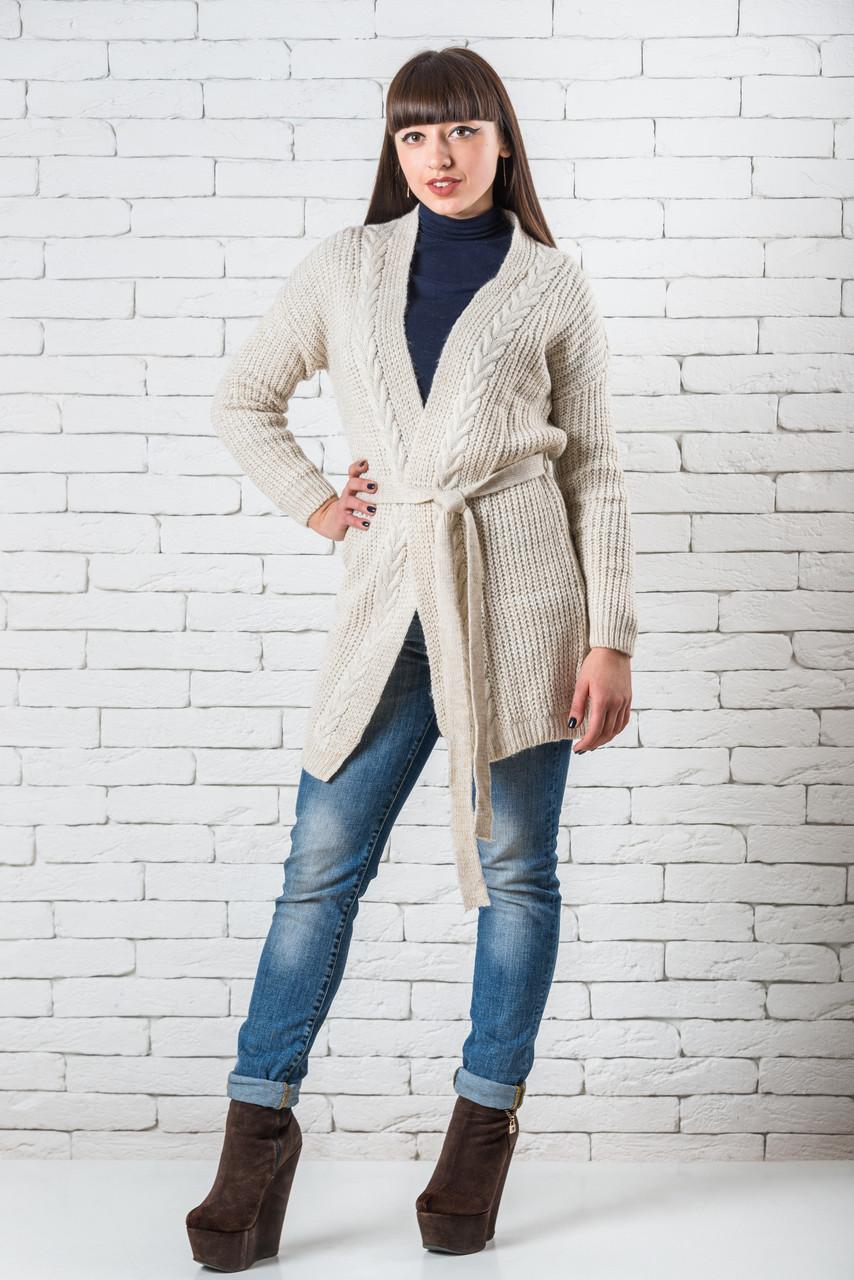 Удлиненный кардиган  женский модный 44-50 молочный