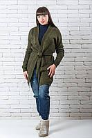 Кардиган вязаный  женский модный  44-50 хаки