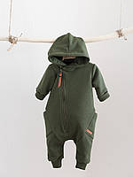 """Детский стильный комбинезон с капюшоном на молнии """"Торнадо"""", хаки. Размеры 62,68,74,80, фото 1"""