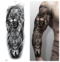 Флеш тату. Временная татуировка. Лев, Тигр, Вороны. На руку/ногу/бедро, 48*17 см, tqb074