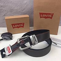 Мужской кожаный ремень Levi's. Двухсторонний ремень. Мужской подарочный набор.