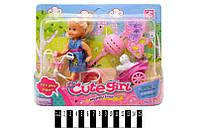 Кукла с велосипедом и аксесс.  в кор. 22,2*15*6 см. /144/ (K899-13)