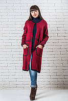 Женский модный кардиган  длинный  44-50 бордо