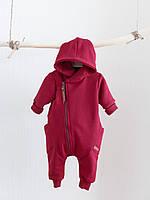 """Детский стильный комбинезон с капюшоном на молнии """"Торнадо"""", марсала. Размеры от 62 до 80"""