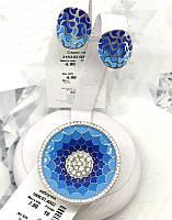 Серебряный гарнитур с синей эмалью омбре Феличита