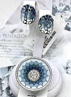 Комплект серебряный с голубой эмалью омбре Феличита