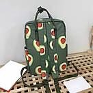 Водонепроницаемый рюкзак для девочки подростка с принтом авокадо цвета хаки Lequeen, фото 2