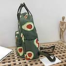 Водонепроницаемый рюкзак для девочки подростка с принтом авокадо цвета хаки Lequeen(AV232), фото 3