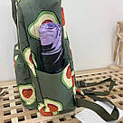 Водонепроницаемый рюкзак для девочки подростка с принтом авокадо цвета хаки Lequeen, фото 5