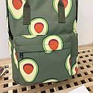 Водонепроницаемый рюкзак для девочки подростка с принтом авокадо цвета хаки Lequeen, фото 9