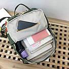 Водонепроницаемый рюкзак для девочки подростка с принтом авокадо цвета хаки Lequeen, фото 4