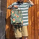 Водонепроницаемый рюкзак для девочки подростка с принтом авокадо цвета хаки Lequeen, фото 8