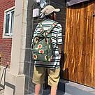 Водонепроницаемый рюкзак для девочки подростка с принтом авокадо цвета хаки Lequeen, фото 6