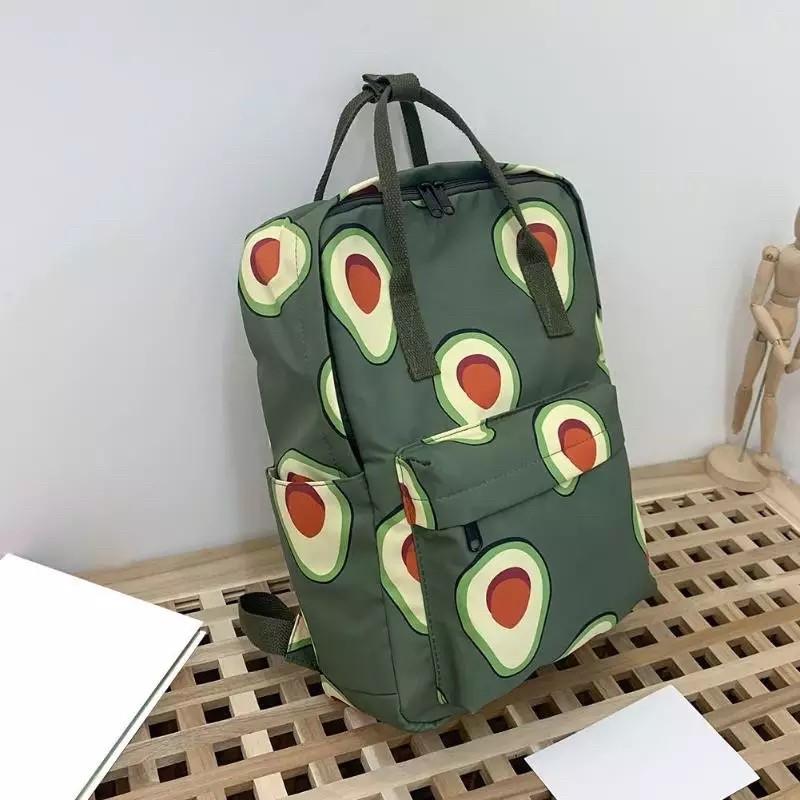 Водонепроницаемый рюкзак для девочки подростка с принтом авокадо цвета хаки Lequeen(AV232)