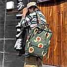 Водонепроницаемый рюкзак для девочки подростка с принтом авокадо цвета хаки Lequeen, фото 7