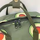Водонепроницаемый рюкзак для девочки подростка с принтом авокадо цвета хаки Lequeen, фото 10