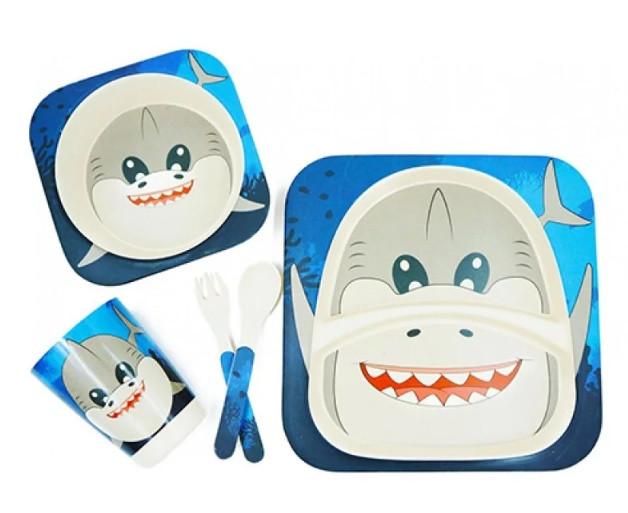 Набор детской бамбуковой посуды Stenson MH-2770-27 5 предметов, акула