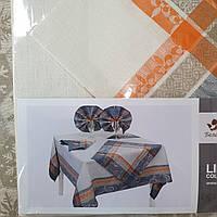 """Льняной столовый комплект """"Мраморная лилия"""" на 6 персон (скатерть 150 на 200 см), фото 1"""