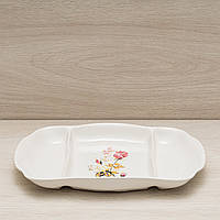 Менажница прямоугольная малая белая с деколью, 26 см, фото 1