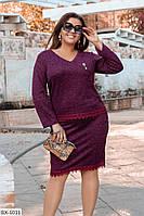 Батальное теплое платье украшенное кружевом арт 785