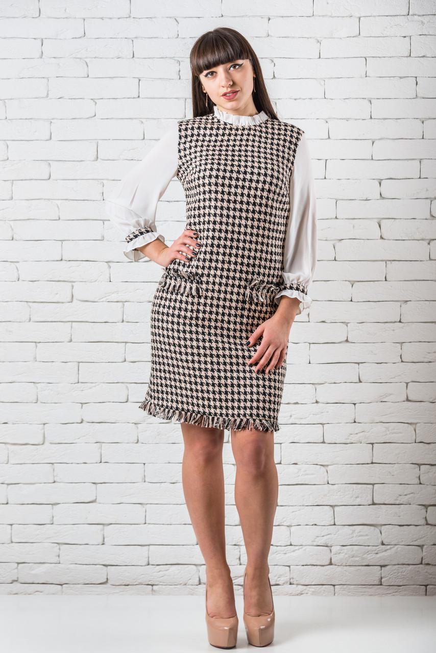 Платье стильное женское повседневное 36,40 паттерн «утиная лапка»