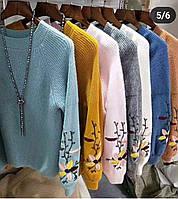 Теплые свитера Ангора с вышивкой на рукаве, фото 1