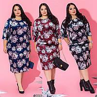 Женское нарядное платье батал в цветочный принт /разные цвета, 50-60, ST-56803/
