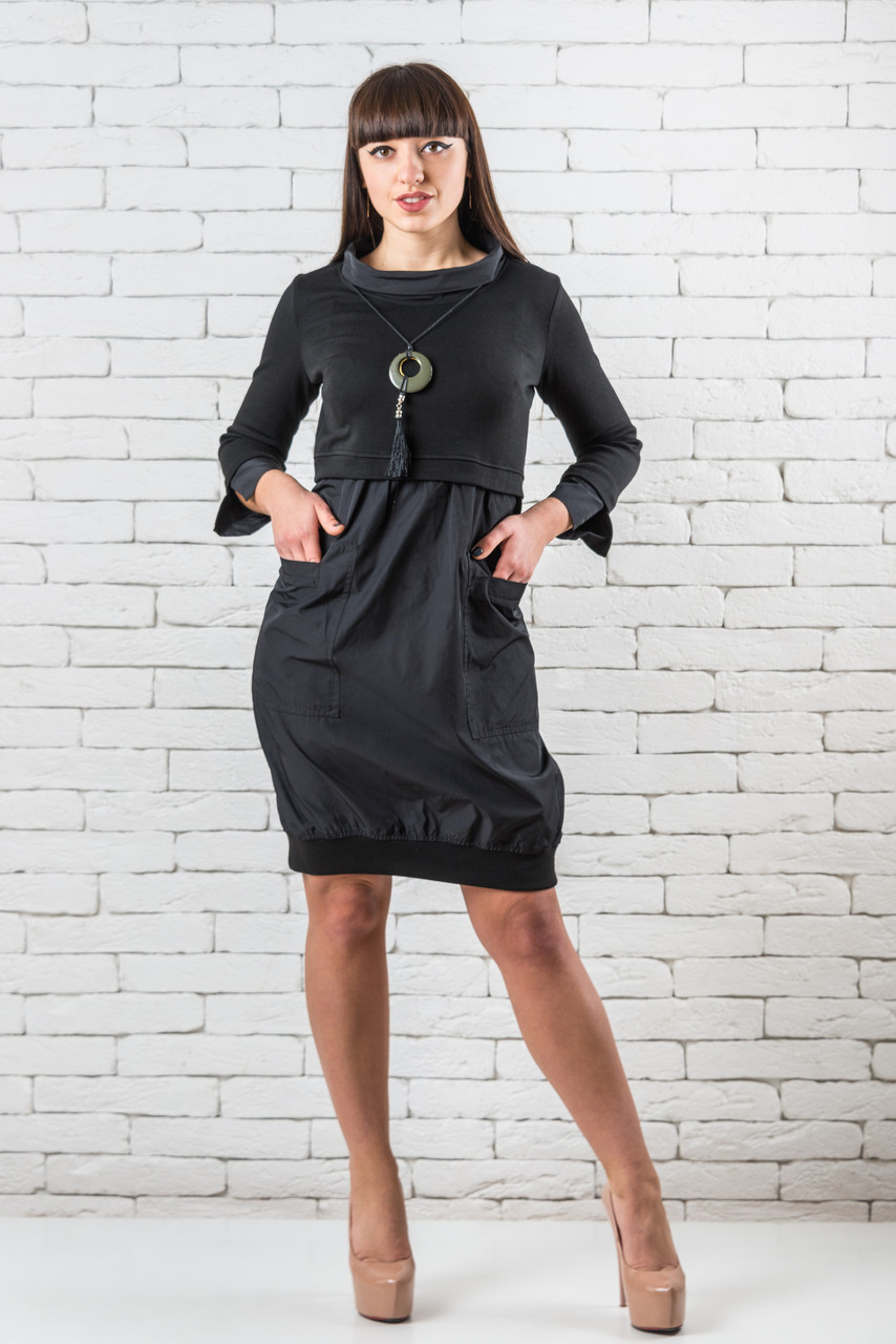 Стильное черное платье женское   36,42 черный