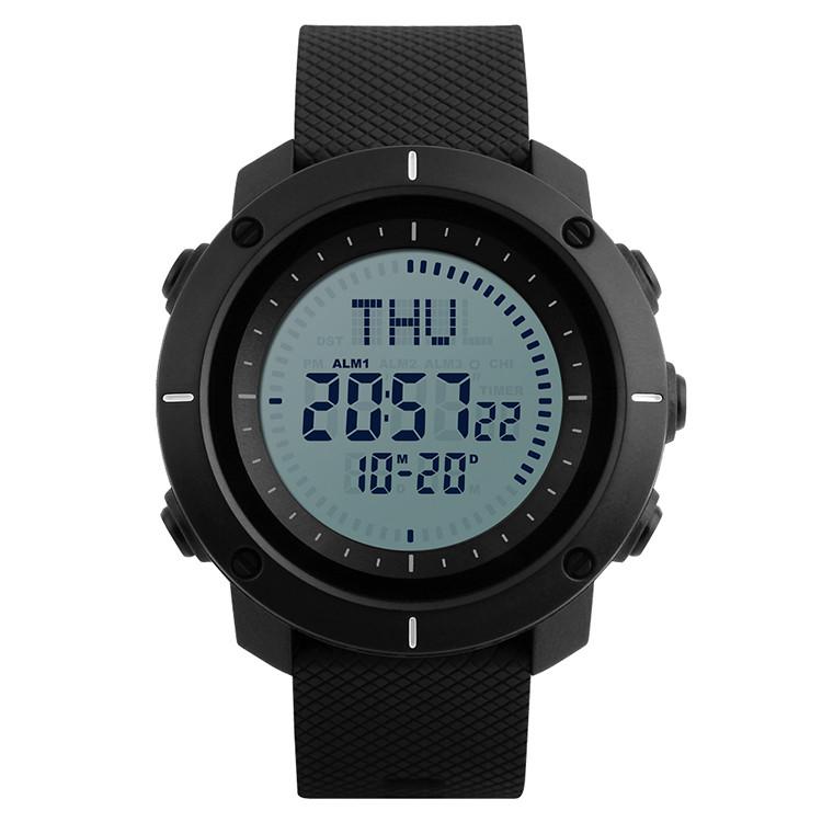 Skmei 1216 COMPASS  Черные мужские спортивные часы