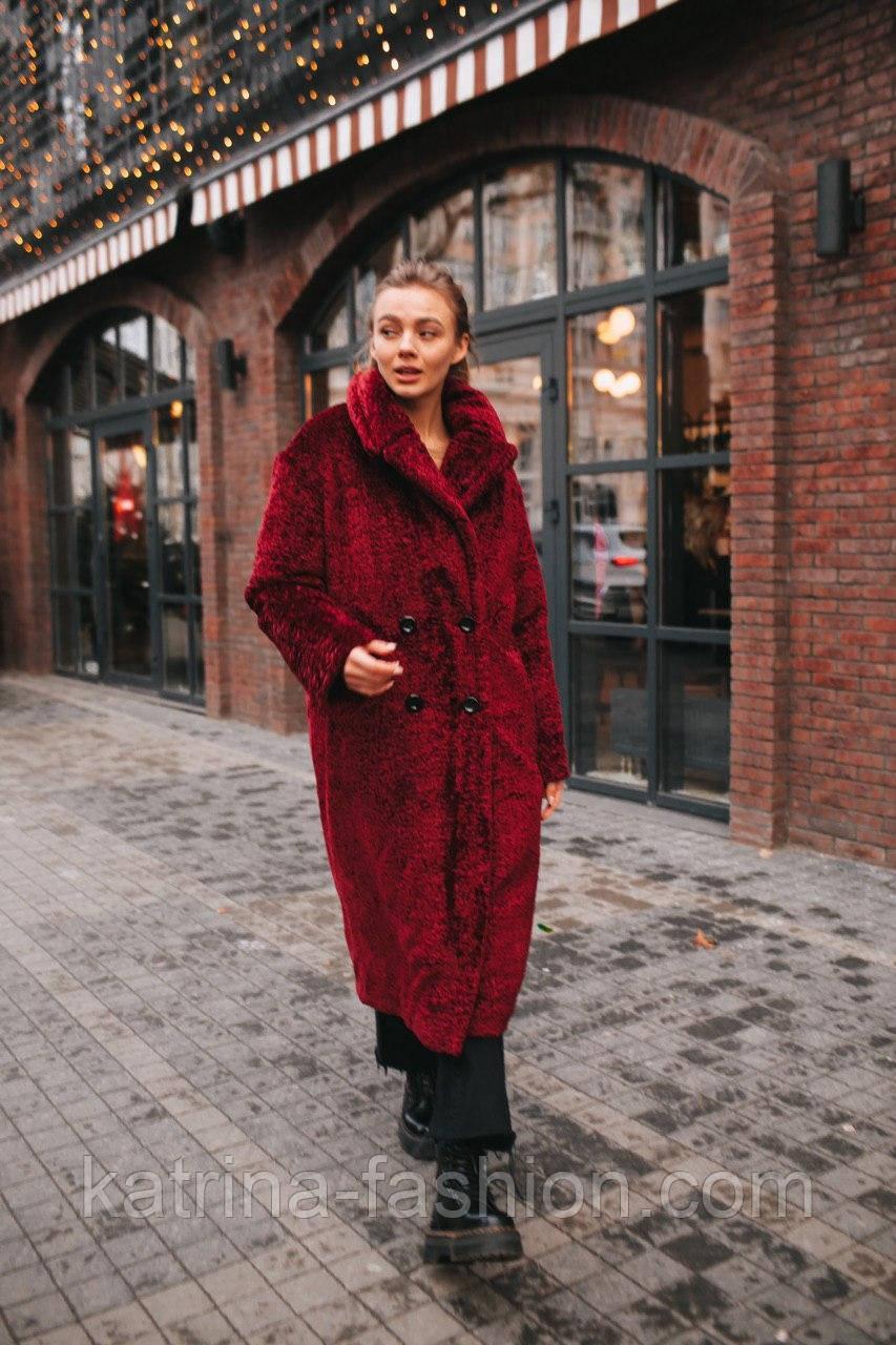 Жіноча модна шуба новинка з штучного хутра каракулю ()утепленгая