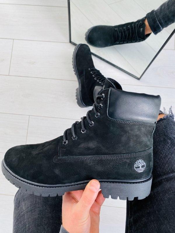 Мужские зимние черные ботинки из нубука