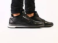 Мужские зимние черные кожаные кроссовки на меху, фото 1