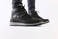 Зимние кожаные черные мужские ботинки на шнурках, фото 1