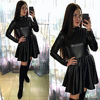 Расклешенное платье из эко-кожи, фото 1