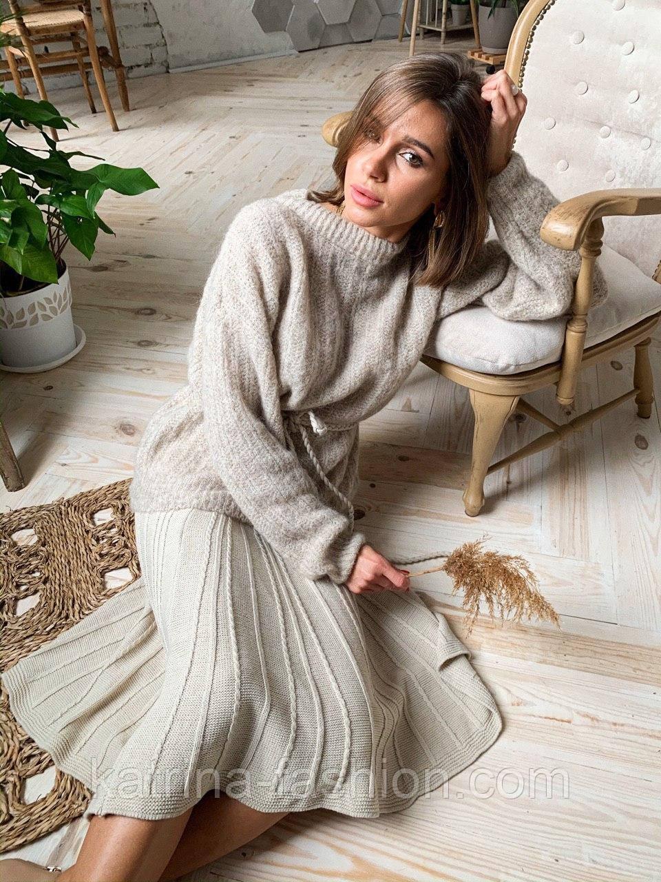 Женский стиляжный костюм: свитер  и юбка( качество  премиум)2 цвета