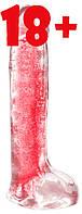Фаллоимитатор с мошонкой X-TIER 8inch red/transparent