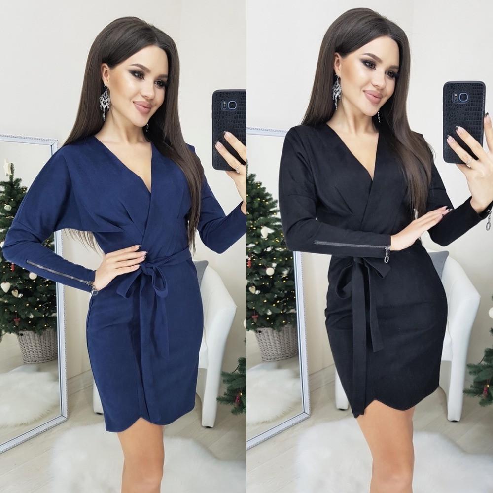 Платье женское, повседневное, замшевое, короткое, с поясом, модное, офисное, стильное, до 48 р-ра