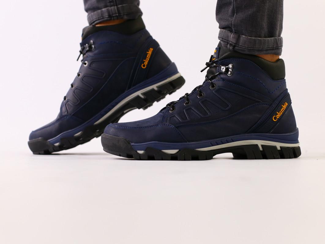 Мужские зимние ботинки, синяя кожа crazy