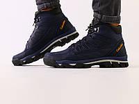 Мужские зимние ботинки, синяя кожа crazy, фото 1
