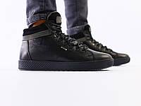 Мужские черные кожаные зимние кроссовки, фото 1