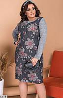 Платье на каждый день, ангора с принтом, размеры 48-50, 52-54, 56-58, 60-62