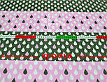"""Лоскут ткани """"Капельки на полосах"""" в розовом цвете № 687а, фото 2"""